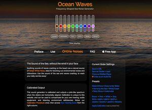 Screenshot: Ocean Waves, eine Seite für Calmsounds