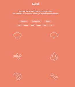 Screenshot: Noisli, eine Seite für Calmsounds
