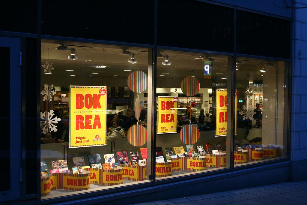 Bokrea. Foto: Lars Aronsson, Stockholm 2009: die Bokrea-Fensterauslage der Akademibokhandeln, Mäster Samuelsgatan 28