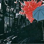 """Holzschnitt von Miriam Zweck, Weimar; Bild für das Covers des Buches """"Der Sonnenschirm des Terroristen"""" von Iori Fujiwara, 2017, Cass Verlag, Bad Berka"""