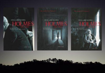 """Header für den Beitrag über die Graphic Novel """"Holmes"""" von C´cil & Brunschwig; Hintergrundfoto: Rodrigo M. Torres/unsplash; Cover: Jacoby & Stuart"""