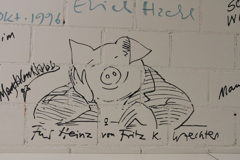 Diogenes Verlag / Keller: Signatur mit Schwein von Fritz K. Waechter