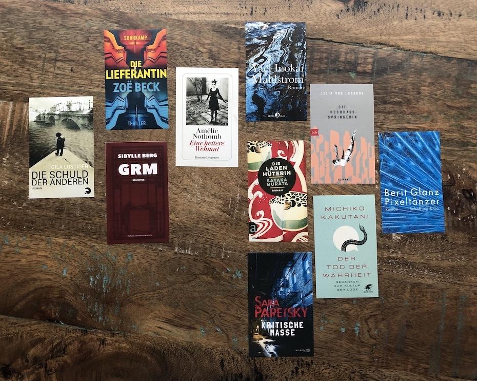 Autorinnenschuber: Cover der 10 ausgewählten Titel; Foto: Bettina Schnerr