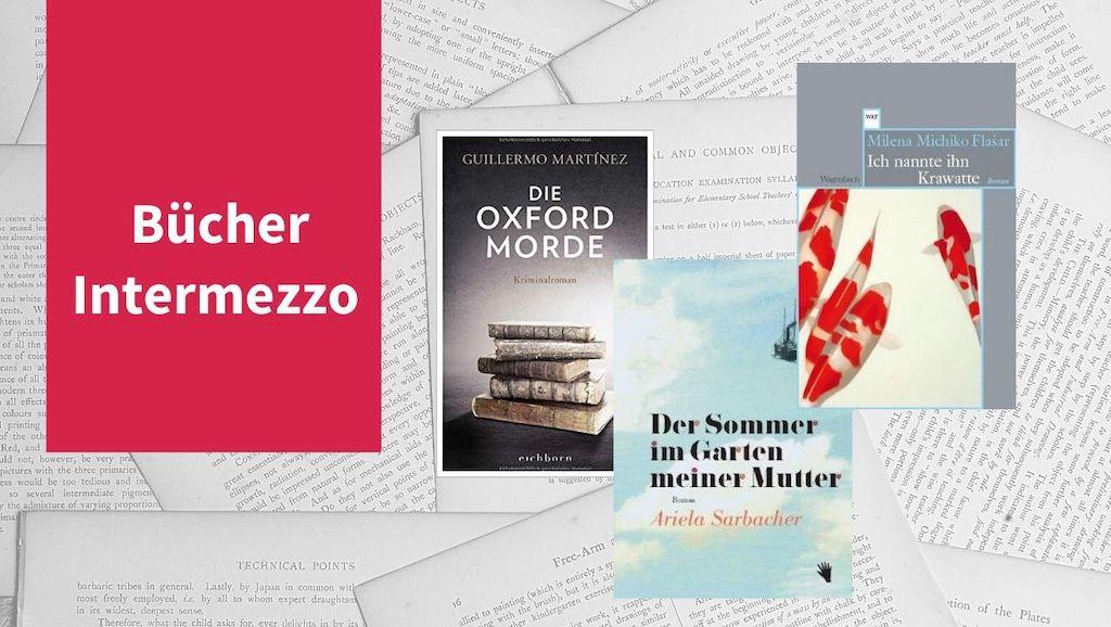 Intermezzo XIV mit Titeln von Ariela Sarbacher, Milena Michiko Flasar und Guillermo Martínez