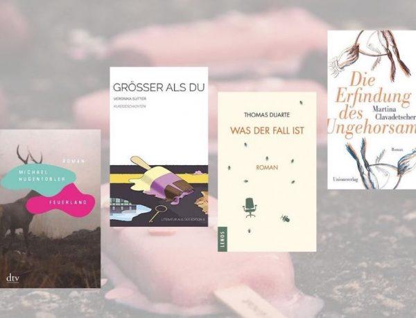 Header zur Shortlist Schweizer Buchpreis 2021: Im Bild die nominierten Titel von Martina Clavadetscher (Die Erfindung des Ungehorsams), Thomas Duarte (Was der Fall ist), Michael Hugentobler (Feuerland) und Veronika Sutter (Grösser als du).